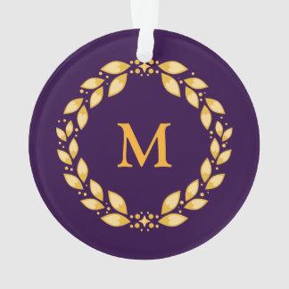 華美な金Leavedローマのリースのモノグラム-紫色 オーナメント