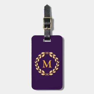 華美な金Leavedローマのリースのモノグラム-紫色 ラゲッジタグ