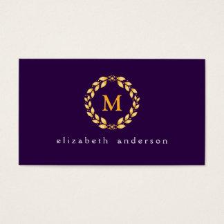 華美な金Leavedローマのリースのモノグラム-紫色 名刺