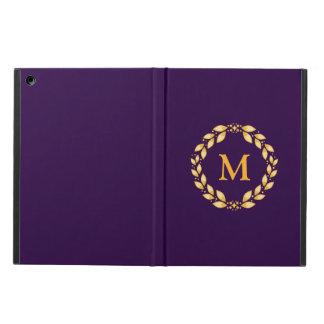 華美な金Leavedローマのリースのモノグラム-紫色 iPad Airケース