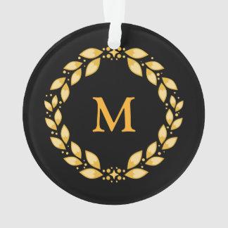 華美な金Leavedローマのリースのモノグラム-黒 オーナメント