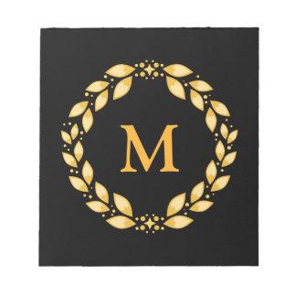 華美な金Leavedローマのリースのモノグラム-黒 ノートパッド