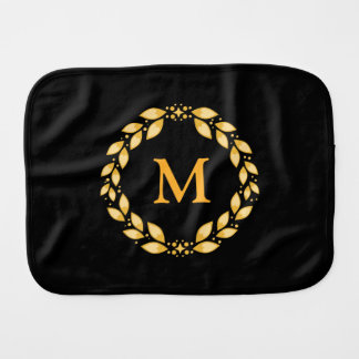 華美な金Leavedローマのリースのモノグラム-黒 バープクロス