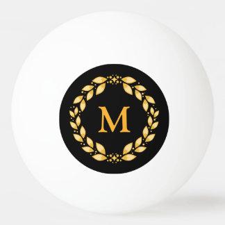 華美な金Leavedローマのリースのモノグラム-黒 卓球ボール