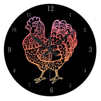 華美な鶏Lineart ラージ壁時計