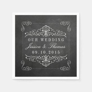 華美な黒板の結婚式のコレクション スタンダードカクテルナプキン