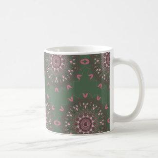 華美なBohoの曼荼羅のオリーブ コーヒーマグカップ