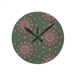華美なBohoの曼荼羅のオリーブ ラウンド壁時計