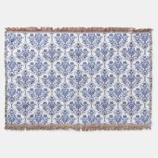 華麗さのダマスク織パターン-青 スローブランケット