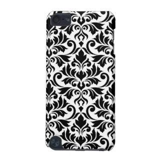 華麗さのダマスク織白の大きいパターン黒 iPod TOUCH 5G ケース