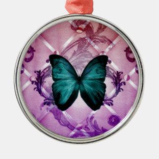 華麗さの紫色はボヘミアのティール(緑がかった色)の蝶渦巻きます メタルオーナメント