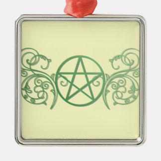 華麗さの緑の星形五角形 メタルオーナメント