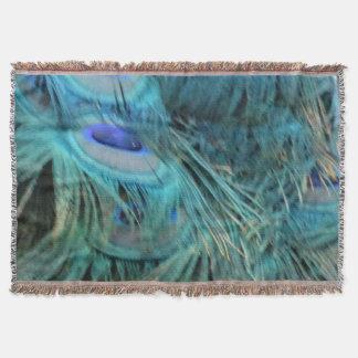 華麗で青い孔雀の羽 スローブランケット