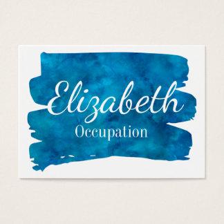 華麗で青い水彩画のしぶき 名刺