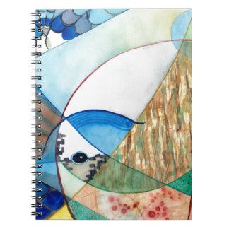 華麗なアオカケスの野性生物の絵画 ノートブック