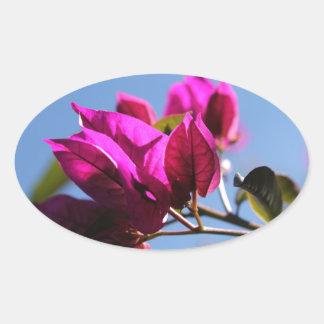 華麗な紫色のブーゲンビリア 楕円形シール
