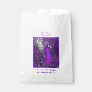 華麗な紫色の孔雀の結婚式の引き出物のバッグ フェイバーバッグ