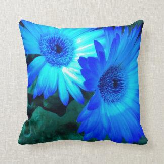 華麗な青デイジーの枕 クッション