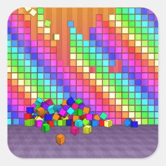 落ちたな立方体3Dのグラフィック・デザイン スクエアシール
