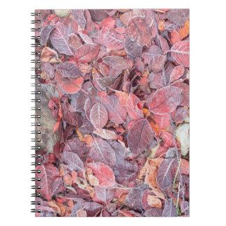 落ちたな葉、紅葉、製造所の入り江のフロスト ノートブック