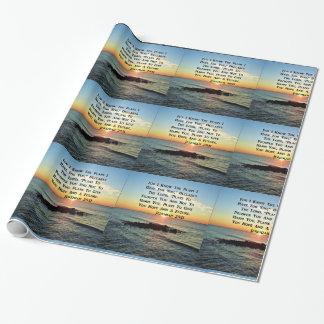 落ち着いた日の出のジェレミアの29:11の聖なる書物、経典のデザイン ラッピングペーパー