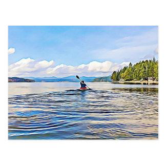 落ち着いた湖のカヤックのカヌーの写真の郵便はがき ポストカード