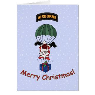 落下傘で降りるサンタ グリーティングカード