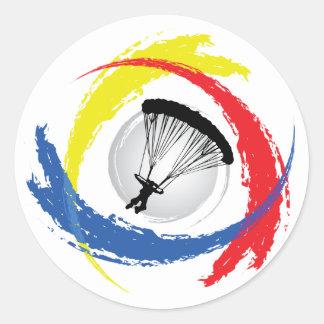 落下傘で降りる三色の紋章 ラウンドシール