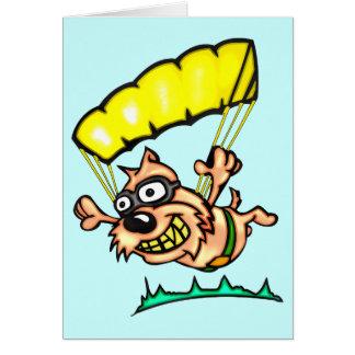 落下傘で降りる犬 グリーティングカード