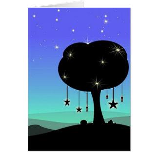 落下星の漫画の夜空の木の夢 グリーティングカード