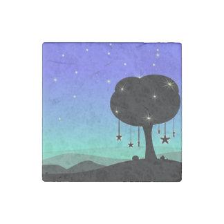 落下星の漫画の夜空の木の夢 ストーンマグネット