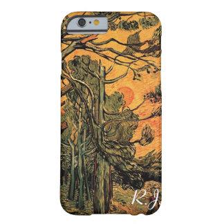 落日が付いている赤い空に対する松の木 BARELY THERE iPhone 6 ケース