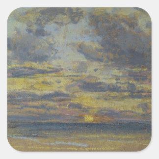 落日、c.1862-70が付いている空の勉強 スクエアシール
