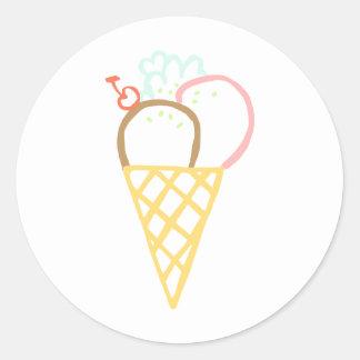 落書きのアイスクリームコーン ラウンドシール