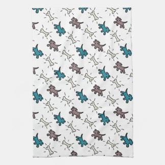 落書きのスタイルの電話白い犬タオル4 台所タオル