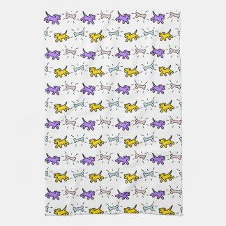 落書きのスタイルの電話白い犬タオル7 タオル
