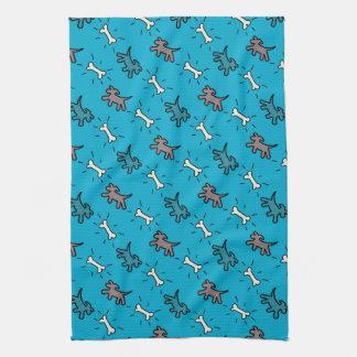 落書きのスタイルの電話青い犬タオル5 台所タオル