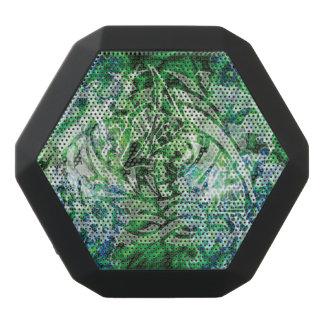 落書きのデジタル抽象的な種族の芸術、Green&White ブラックBluetoothスピーカー