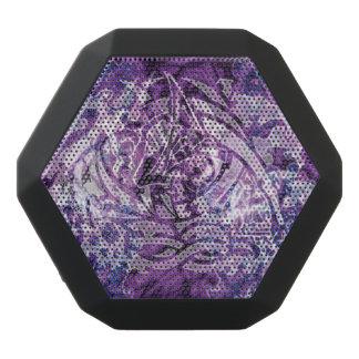 落書きのデジタル抽象的な種族の芸術、Purple&White ブラックBluetoothスピーカー