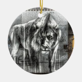 落書きのライオン、Shoreditchロンドン セラミックオーナメント