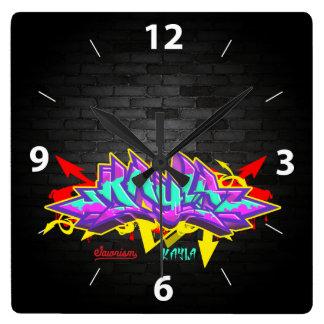 落書きの一流のKayla スクエア壁時計