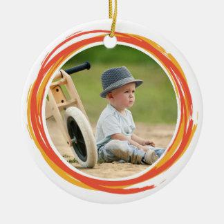 落書きの円のカスタムな記念品の写真のクリスマス セラミックオーナメント