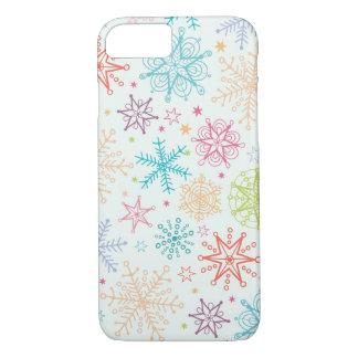 落書きの雪片パターン iPhone 8/7ケース