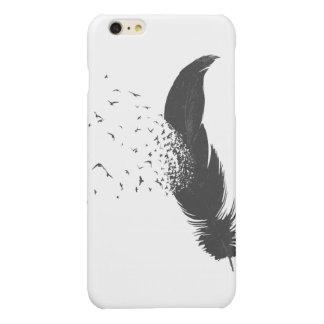 落書きのiPhone 6のプラスの光沢のある終わりの箱に羽をつけて下さい
