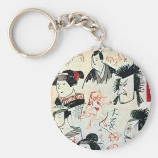 落書き風の猫、落書きそっくりの猫、Kuniyoshiの浮世絵 キーホルダー