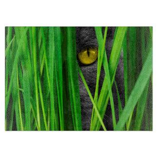 葉および特別な目を持つ猫 カッティングボード