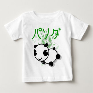 葉が付いているかわいい日本製アニメのスタイルのパンダの乳児のTシャツ ベビーTシャツ