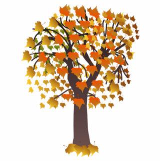 葉が付いている秋の木 写真彫刻(台付き)