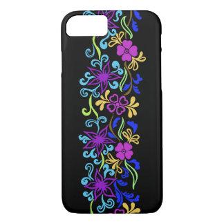 葉が付いている鮮やかで、多彩な花および渦巻 iPhone 7ケース