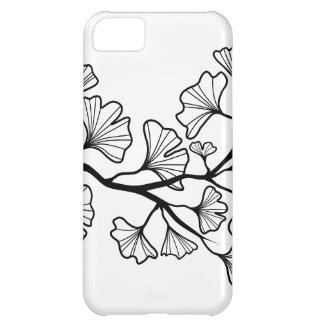 葉が付いている黒いイチョウの木 iPhone5Cケース